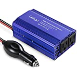 Odoga 300W Car Power Inverter 12V to 110V With Dual AC Outlets Dual 2.4A USB Smart Ports & Fast Charging - Blue Aluminum Body