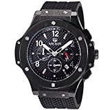MEGIR Watches men Military Black Quartz Wristwatches Silicone Strap Big Dial relojes