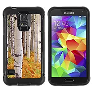 All-Round Hybrid Rubber Case Hard Cover Protective Accessory Compatible with SAMSUNG GALAXY S5 - ferns birch trees nature yellow