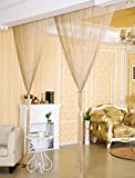Eyotool 3x3 M Door String Curtain Rare Flat Silver Ribbon Thread Fringe Window Panel Room Divider Cute Strip Tassel for Wedding Coffee House Restaurant Parts, Champagne