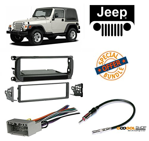 Radio Stereo Install Dash Kit + Wire Harness and Antenna Adapter for Jeep Grand Cherokee (02-04), Liberty (02-07), Wrangler (03-06) - Jeep Cherokee Single