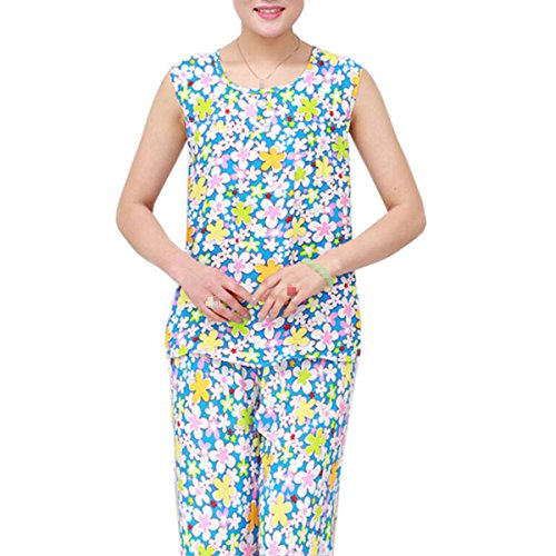De Gran Tamaño Señoras Sin Mangas Simple Impresión Traje De Dos Piezas Conjunto De Pijama Ropa De Dormir 04
