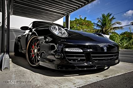 Porsche 911 997 TT Right Front Black on 360 Forged wheels HD Poster 48 X 32