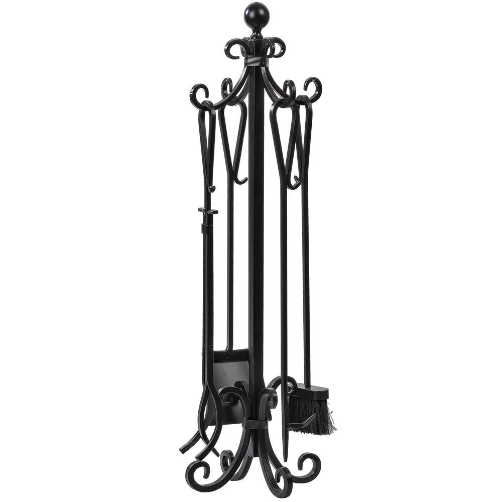5 Pieces Scroll Fireplace Tools Set Black Cast Iron Fire Place Toolset with Log Holder Fireset Fire Pit Stand Rustic Tongs Shovel Antique Broom Chimney Poker Wood Stove Hearth Accessories Set by AMAGABELI GARDEN & HOME