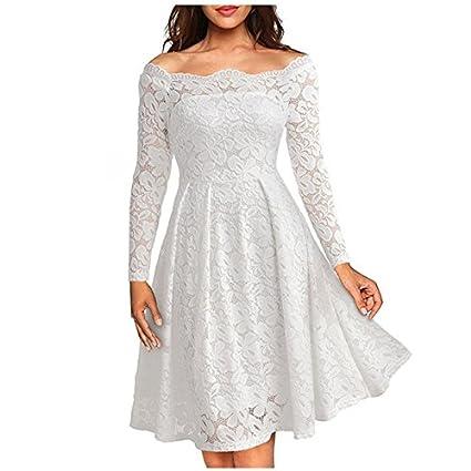 Vestidos de Fiesta de Noche Elegantes De Mujer Casuales Largos De Encaje Manga Larga VE0049 Red at Amazon Womens Clothing store: