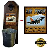 """Air Force"" Bottle Opener and Cap Catcher – Handcrafted by a Vet – Made of 100% Solid Pine 3/4″ Thick – Rustic Cast Iron Bottle Opener and Sturdy Mini Galvanized Bucket – Great Dad Gift! For Sale"
