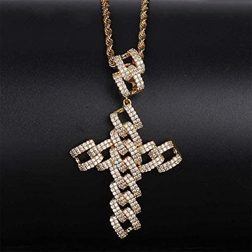 CZ Diamond Baguette Stone Dollar Sign Medallion Silver Pendant Necklace with 24 Rope Chain
