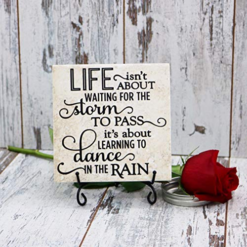 Life Isn't About Waiting For The Storm To Pass It's About Learning To Dance In The Rain Quote Tile, Vinyl Decal Quote Tile, Home Accent Tile