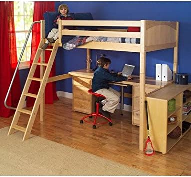Amazon Com Maxtrix Kids Grand 3 Giant 3 Full High Loft Bed With Long Desk And 3 1 2 Drawer Chest Furniture Decor