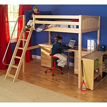 Maxtrix Kids Grand 3 Giant Full High Loft Bed With Long Desk And