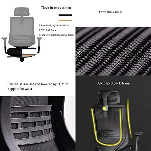 YYL kontorsstol ergonomisk datorstol, 125 °lås hemspelstolar, arbetsrum kontor lyft svängbar stol med nackstöd, svart svängbar stol