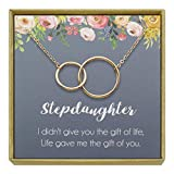 IDLAN Stepdaughter Necklace Birthday Wedding Gift from Stepmom Stepdad Interlocking Infinity Circles Necklace (Rose Gold)