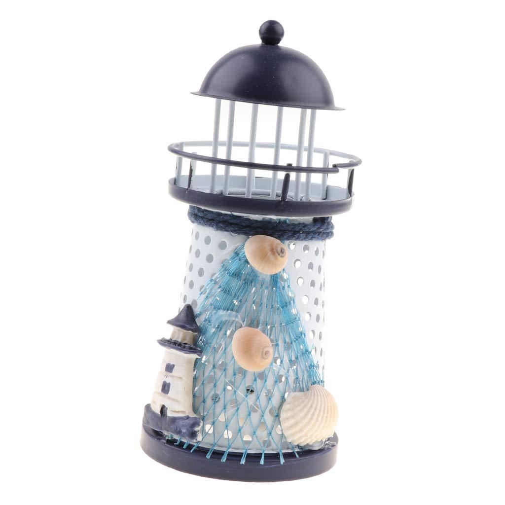 S Homyl Wundersch/öner Leuchtturm aus Eisen mit LED Beleuchtung Dekoration
