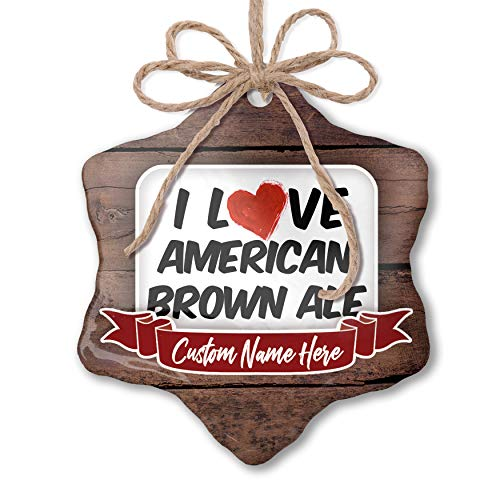 NEONBLOND Custom Family Ornament I Love American Brown Ale Beer Personalized Name