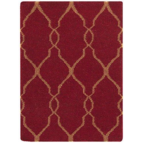 Surya Jill Rosenwald by Fallon FAL-1013 Flatweave Hand Woven 100% Wool Carmine 2' x 3' Global Accent (Fallon Wool Rug)