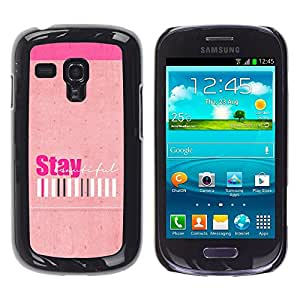 Caucho caso de Shell duro de la cubierta de accesorios de protección BY RAYDREAMMM - Samsung Galaxy S3 MINI NOT REGULAR! I8190 I8190N - Peach Stay Positive Girls Barcode