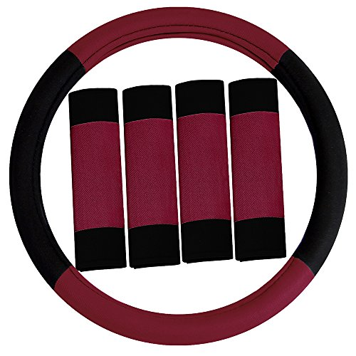 Cover Steering Wheel Set (FH Group FH2033BURGUNDY Steering Wheel Cover (Modernistic and Seat Belt Pads Combo Set Burgundy))