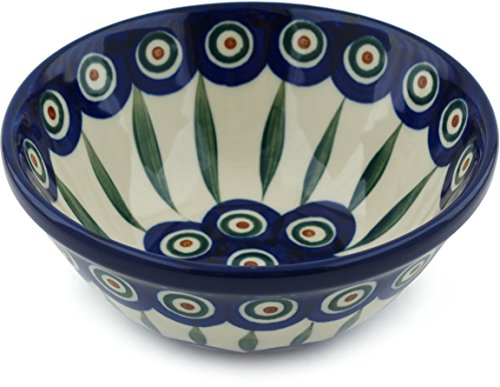 Polish Pottery Cereal / Soup Bowl 5-inch (Peacock Leaves) (Pottery Leaf Bowl)