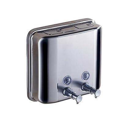 Dispensador de jabón de acero inoxidable montado en la pared manual doble líquido claro champú,