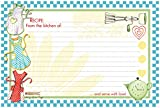 "Brownlow Gifts 4"" x 6"" Lined Recipe Cards, Light Blue Retro Aprons, 36-Count"