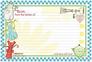 """Brownlow Gifts 4"""" x 6"""" Lined Recipe Cards, Light Blue Retro Aprons, 36-Count"""