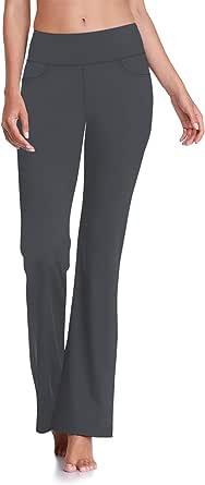 "HISKYWIN 27""/29""/31""/33"" Inseam Petite/Regular Womens Bootcut Yoga Pants, Tummy Control Workout Running Bootleg Flare Pants"