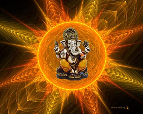 Lightahead The Blessing. A Colored Gold Statue of Lord Ganesh Ganpati Elephant Hindu God Made from Marble Powder in India