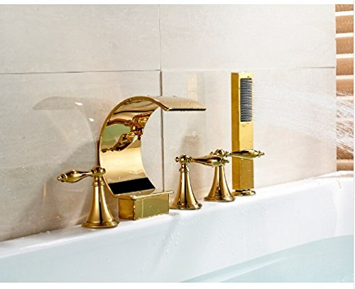 Gowe Deck Mounted C Curved Bathroom Tub Faucet Waterfall Sink Mixer With Hand Shower 2