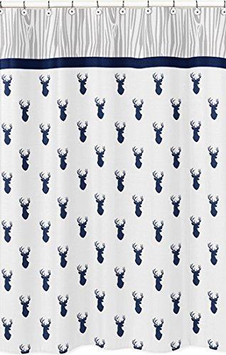 sweet jojo designs navy and white woodland deer boys kids bathroom fabric bath shower curtain