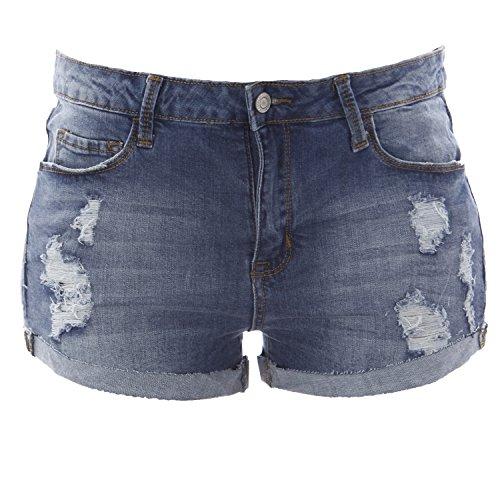 Top Klique B by Flying Monkey Distressed Cuffed Shorts