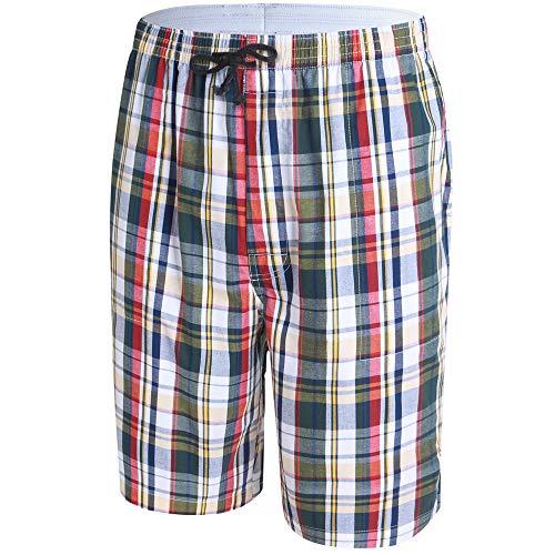 - JINSHI Men's Sleep Shorts Lounge Sleepwear Plaid Cotton Pajamas Comfortable Shorts (Large, Plaid S19)