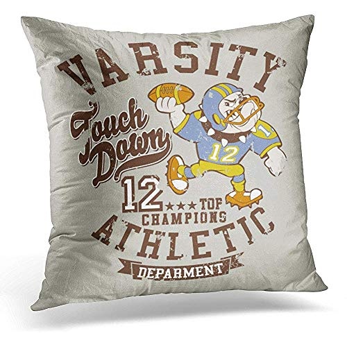 Decorative Pillow Cover Mascot Bulldog Football Team Artwork for Children Wear in Custom Colors Grunge Effect Separate Layer Throw Pillow Case Square Home Decor Pillowcase 18x18 Inches