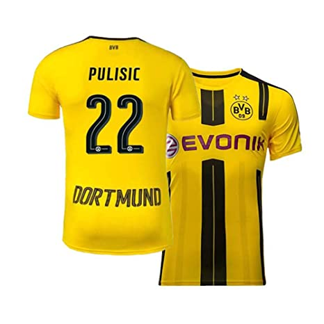 ff042d5e9f6 Mens Pulisic Jersey Borussia Dortmund Christian 22 Adult Home Soccer Yellow  (Yellow, Small)
