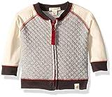 Burt's Bees Baby Boys Jacket, Hooded Coat, 100% Organic Cotton, Heather Grey Quilted Zip, 0-3 Months