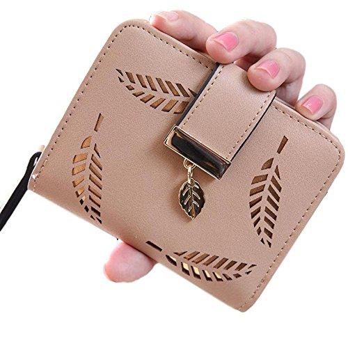 Women's Wallet with Gold Leaf Motif (Tan) - Tan Womens Wallet
