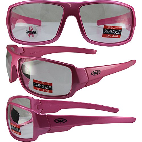 Global Vision Fight Back 3 Cancer Pink Women Motorcycle Sunglasses Clear Lenses ANSI Z87.1+]()