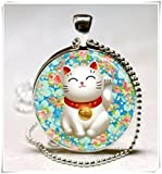 Vintage Lucky Cat Cabochon Silver Glass Chain Pendant Necklace