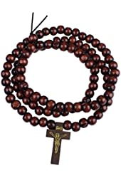Unisex Red Brown Small Wood Beads Elastic Strand Necklace with Jesus Cross