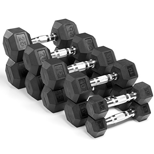 XMark Premium Quality Rubber Coated Hex Dumbbells with Chrome Contoured Handles - 150 lb set