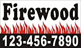 [Vinyl] 3ftX5ft Custom Printed Firewood For Sale Banner Sign with Your Phone Number