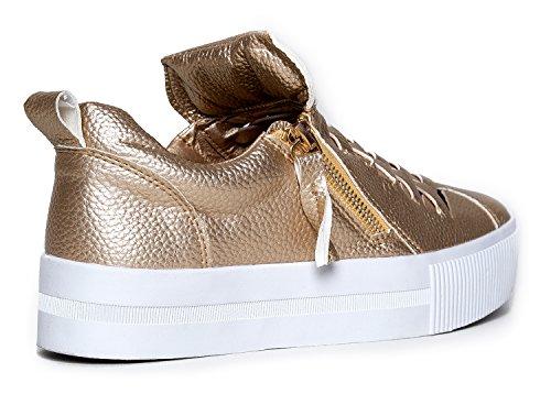 Mignon À La Base Confortable Zipper Ventilé Plate-forme Sneaker - Edgy Mode Décontractée Zip Up Chaussure - Gingembre Par Or **