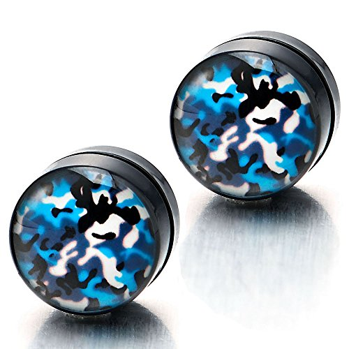 Magnetic Camouflage Pattern Earrings Non Piercing