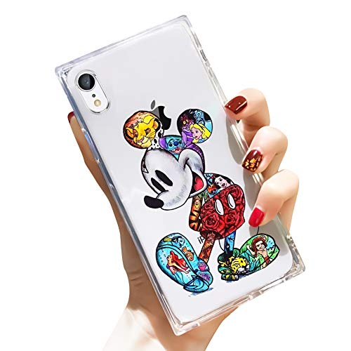 DISNEY COLLECTION iPhone XR Case Square Clear Transparent Cute Colorful Mickey Reinforced Corners TPU Cushion Soft Slim Silicone Shockproof Case Cover Compatible iPhone XR 6.1 Inch