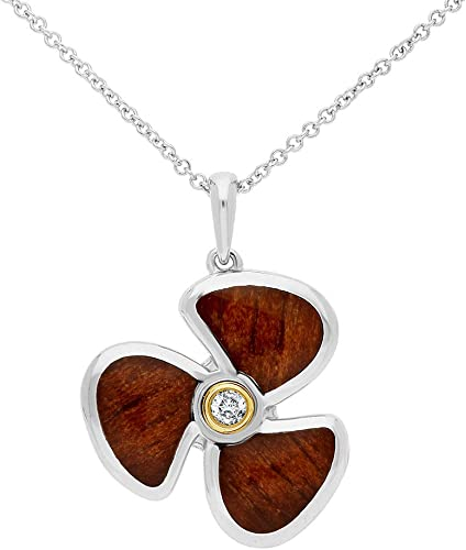 Ze 14kt Sterling Silver Willow Wood Inlayed Diamond Accented Propeller Pendant with 18 Cable Chain