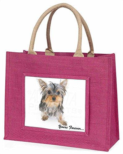 Advanta ad-y9blp Yorkshire Terrier dogyours Forever Große Einkaufstasche/Weihnachtsgeschenk, Jute, pink, 42x 34,5x 2cm