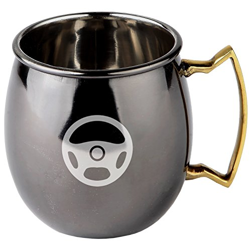 Steering Wheel Stainless Steel Moscow Mule Mugs With Black Mirror Finish - Copper Plated Cocktail Mug - 16 Oz Moscow Mule Mug Gift