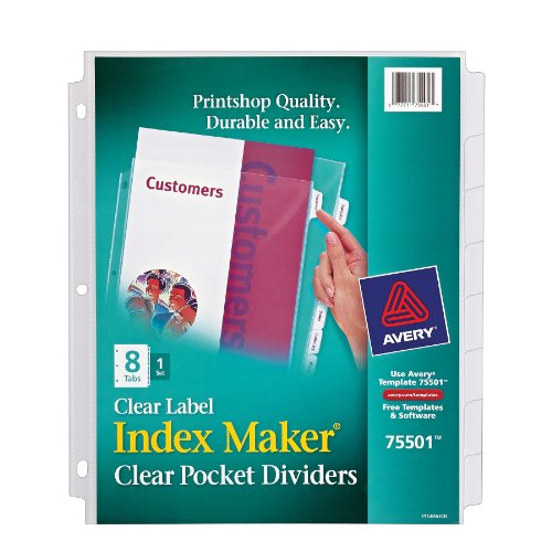 Avery Index Maker Clear Pocket Clear Label Dividers, 8-Tab Set (75501) (Clear Title Pocket)