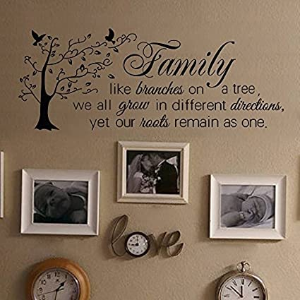 Wall Decal Decor Family Wall Decal Quote- Family Like Branches On A Tree-  Family Tree Wall Decal- Inspirational Quote Vinyl Lettering(Black, 13.5\