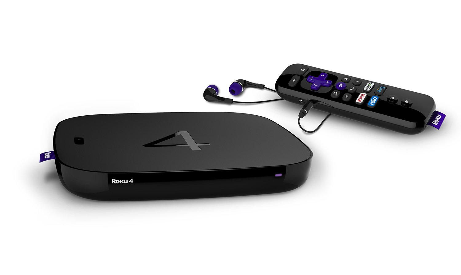 Roku 4 | HD and 4K UHD Streaming Media Player with Enhanced Remote (Voice Search, Lost Remote Finder, and Headphone), Quad-Core Processor, Dual-Band Wi-Fi, Ethernet, and USB Port by Roku