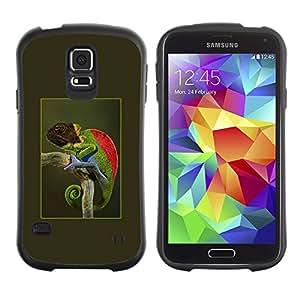 Suave TPU GEL Carcasa Funda Silicona Blando Estuche Caso de protección (para) Samsung Galaxy S5 / CECELL Phone case / / chameleon poster green tropics nature /